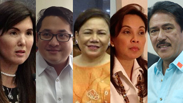 IN FAVOR OF POE. (From left to right) Senators Pia Cayetano, Paolo Benigno Aquino IV, Cynthia Villar, Loren Legarda, and Vicente Sotto III all voted in favor of Poe.