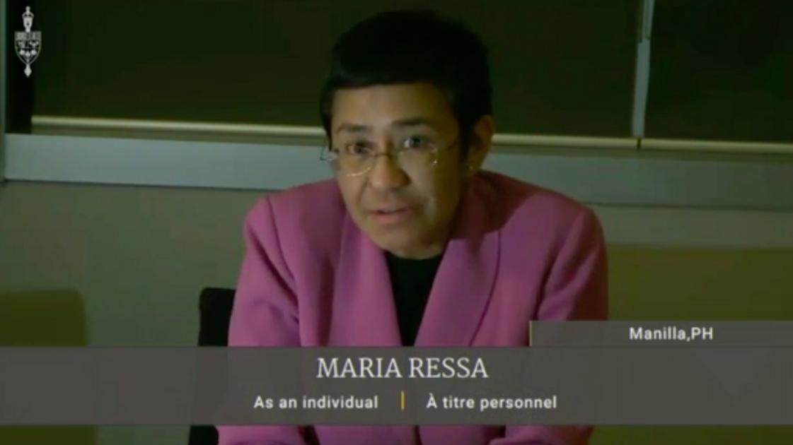 MARIA RESSA. Screenshot from International Grand Committee livestream