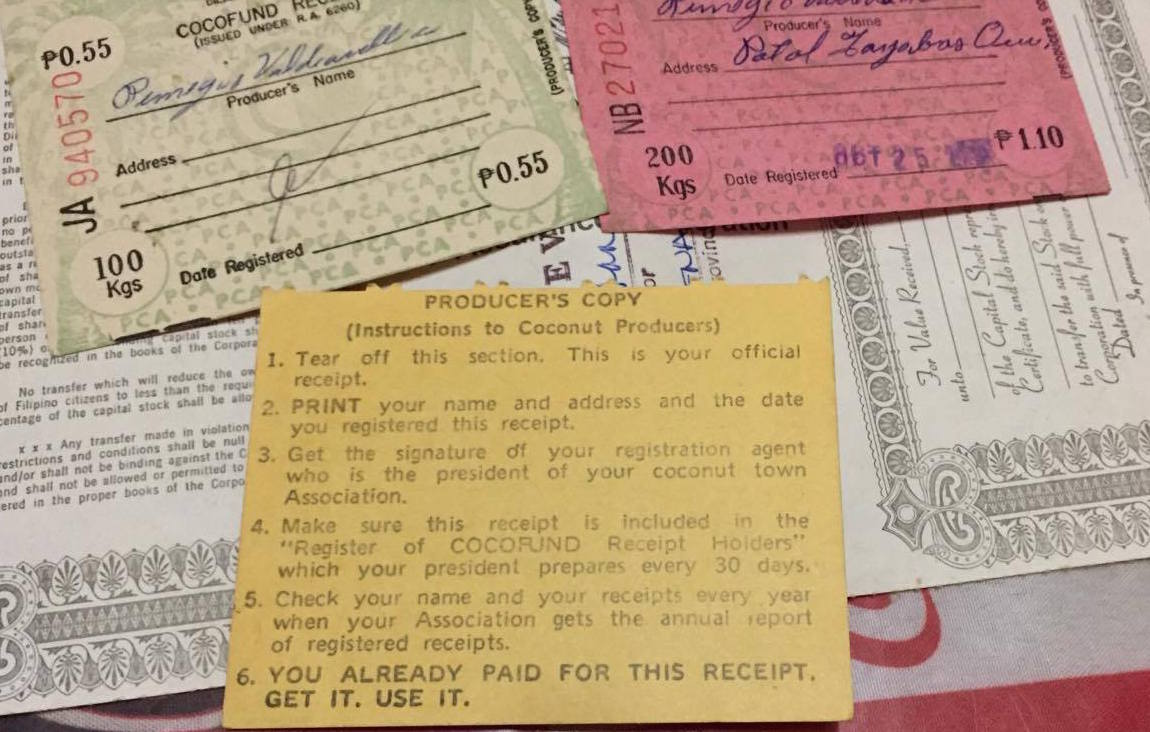 BACK. The back portion of the receipts of levies imposed on coconut farmers. Photo by Camille Elemia/Rappler
