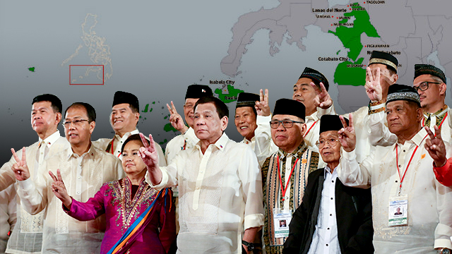 READY FOR GOVERNANCE. The Bangsamoro Transition Authority will lead the new BARMM until 2022. BTA and President Duterte photo from Malacau00f1ang