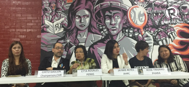 FIGHT VS ABUSES. Officials from the Commission on Human Rights and civil society organizations call for solidarity and action against human rights violations in the Philippines. Photo by Jodesz Gavilan/Rappler