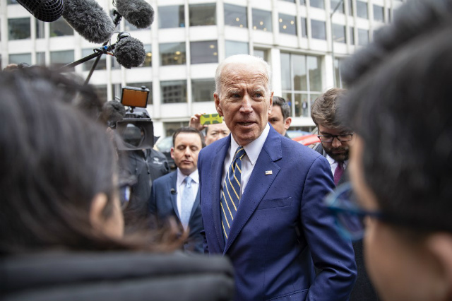 INAPPROPRIATE? Former Vice President Joe Biden speaks to the media at the International Brotherhood of Electrical Workers Construction and Maintenance conference on April 05, 2019 in Washington, DC. Photo by Tasos Katopodis/Getty Images/AFP