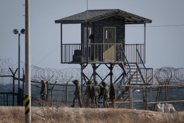 POST. File photo of a a guard post near a barbed wire fence on a beach near Goseong on South Korea's northeast coast. File photo by Ed Jones/AFP