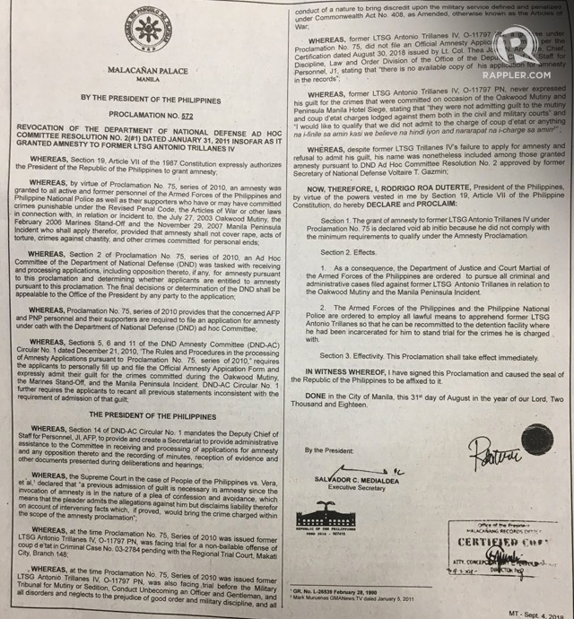 REVOKED. President Rodrigo Duterte's Proclamation No. 572 published in the Manila Times on September 4, 2018. Photo by Camille Elemia/Rappler