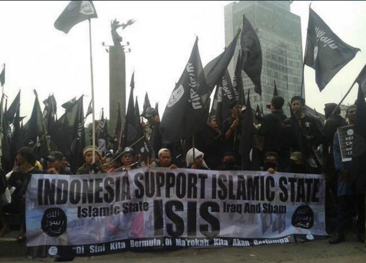 SUPPORTERS. Image tweeted by user @allyn3237 on June 20, 2014, of a pro-ISIS rally in Jakarta.