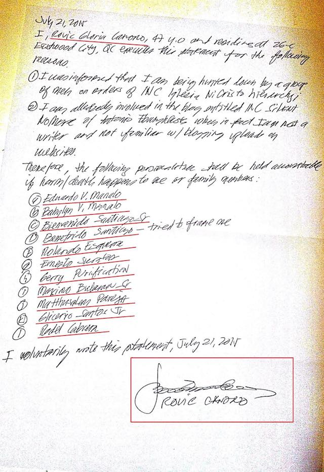 INC TO BLAME? The u0022Silent No Moreu0022 blog posts a letter supposedly written by Rovic Canono in July 2015. Photo from Silent No More blog