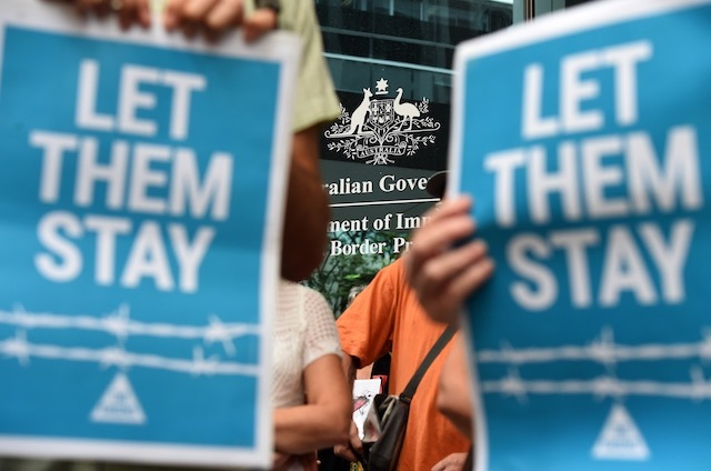 'LET THEM STAY' In this photo, pro-refugees protesters rally outside the Immigration Office in Brisbane, Australia, February 5, 2016. Dan Peled/EPA