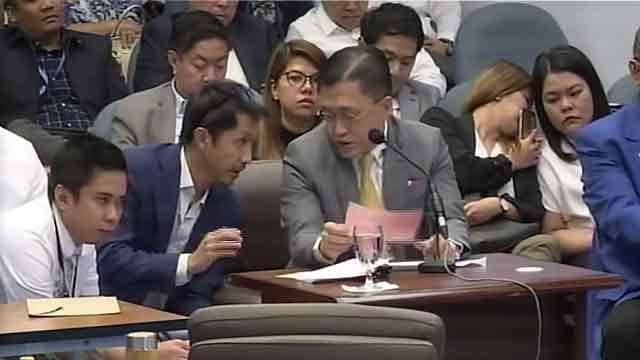 SPORTS BUDGET. Senator Bong Go, sponsor of the Philippine Sports Commission budget, is being coached by BCDA president Vince Dizon on questions about the New Clark City Sports Complex. Senate YouTube screenshot