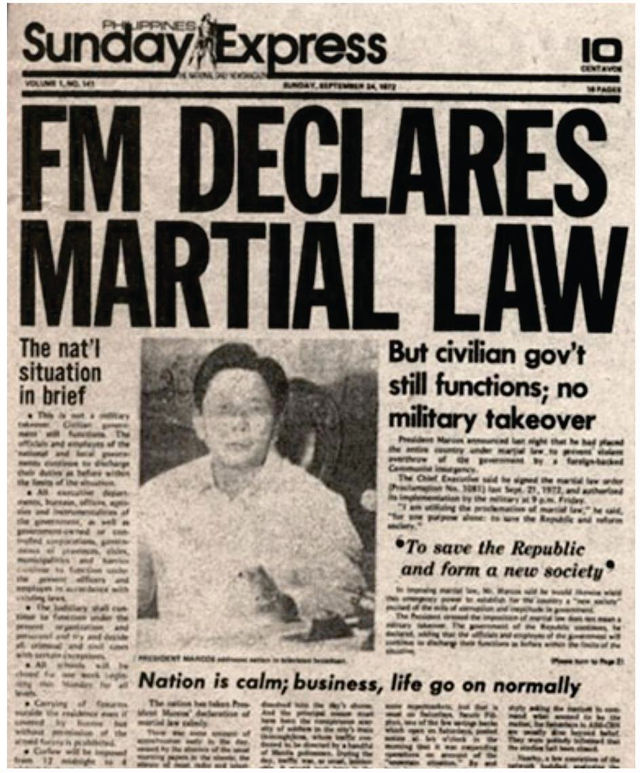CENSORED PRESS. The Sunday edition of the Philippines Daily Express was the only newspaper that was allowed to publish on September 24, 1972, immediately following the declaration of Martial Law. | Photo from the Official Gazette