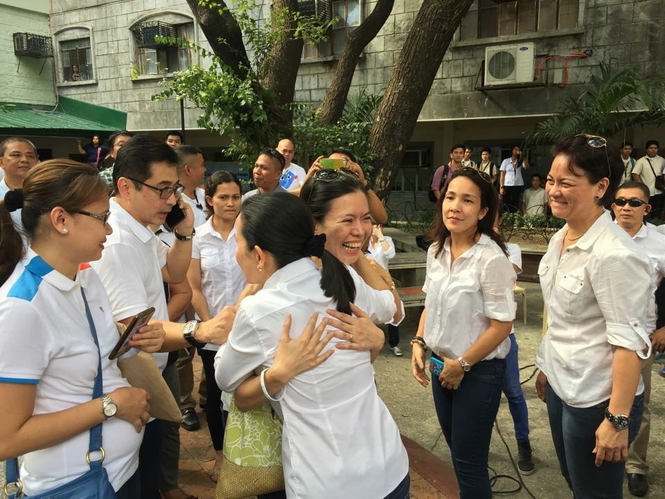VICTORY. Poe's friends celebrate with her as the Senate Electoral Tribunal dismissed the disqualification case against her. Photo by Gary Jimenez.