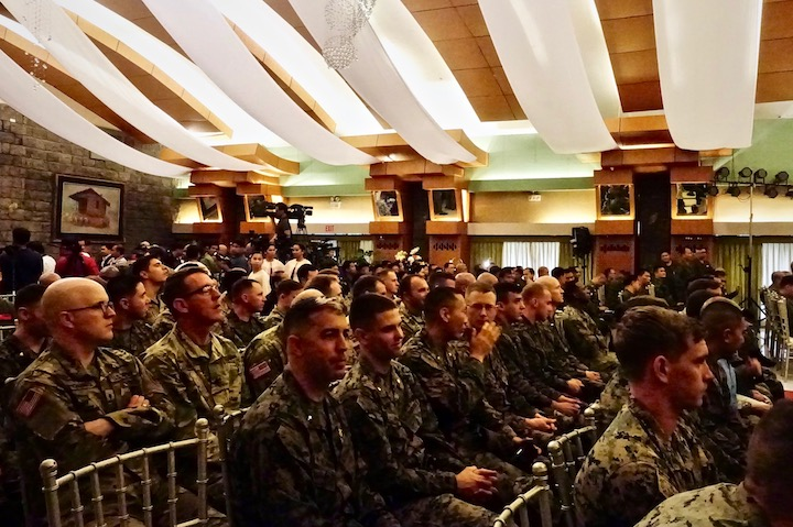 ALLIES. American soldiers pack the Tejeros Hall in Camp Aguinaldo for the Balikatan 2019 opening program. Photo by Rambo Talabong/Rappler