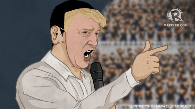 FILIPINO TRUMP. All of our presidential candidates show a sense of absurdity that makes voters wonder, 'Is this all we have?' Image courtesy of Mara Mercado