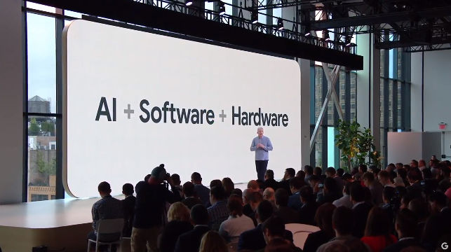 GOOGLE'S OCTOBER EVENT. Mike Osterloh opens Google's latest event. Screenshot from YouTube.