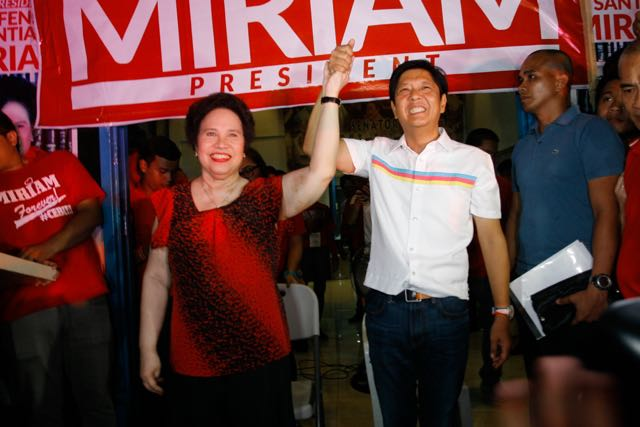 TOGETHER AGAIN. Presidential Candidate Miriam Defensor-Santiago and her Vice Presidential running mate Bongbong Marcos Jr. during their Miting de Avance at Quezon City on May 7, 2016.Photo by Jasmin Dulay / Rappler