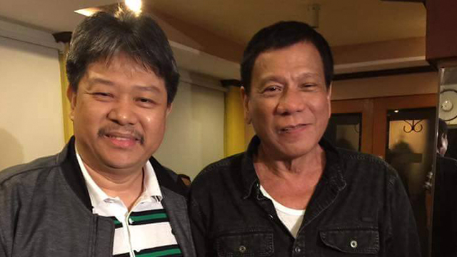BEDANS. In this file photo, the President poses with Stephen David after the May 2016 elections. Photo from a Rappler source