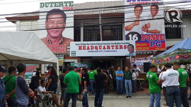 PAMPANGA SUPPORT. This is the headquarters of the Pampanga chapter of the volunteer group, Mayor Rodrigo Roa Duterte (MRRD)