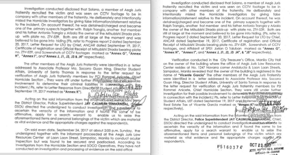 INSERTED PARAGRAPH. John Paul Solano's camp says the second version of the certified true copy of the application for search warrant has an additional paragraph. Photos courtesy of Solano camp