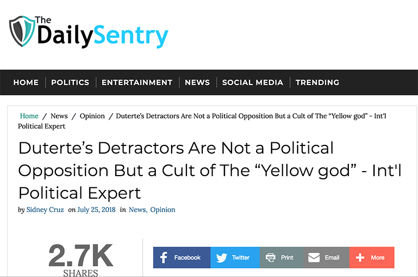 A screenshot of an article on 'The Daily Sentry,' a website known for spreading misleading information, citing 'international political expert' Adam Garrie as a source.