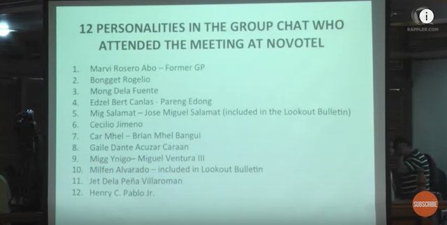 MEETING. Coronel reveals the names of the 12 personalities who attended the September 17 meeting at Novotel. Screenshot from Rappler