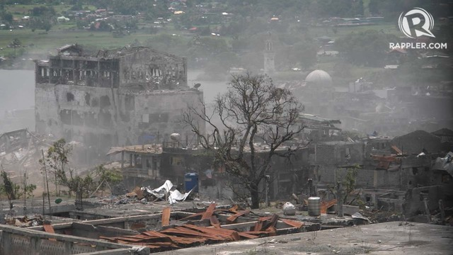 REBUILDING MARAWI. This is a photo of the main battle area in Marawi City taken in October 2017. Rappler file photo