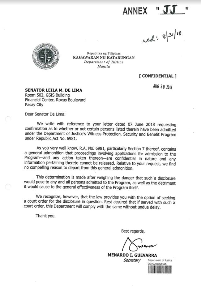 NO DISCLOSURE. Justice Secretary Menardo Guevarra refuses to disclose to Senator Leila De Lima if convicts who are witnesses against her are being given state protection.