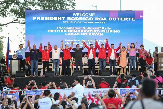 PRESIDENTIAL ENDORSEMENT. President Rodrigo Duterte endorses senatorial candidates from the PDP-Laban during its kick-off run for the midterm elections in San Jose Del Monte Bulacan on February 14, 2019. File photo by Mary Grace dela Cerna/Rappler