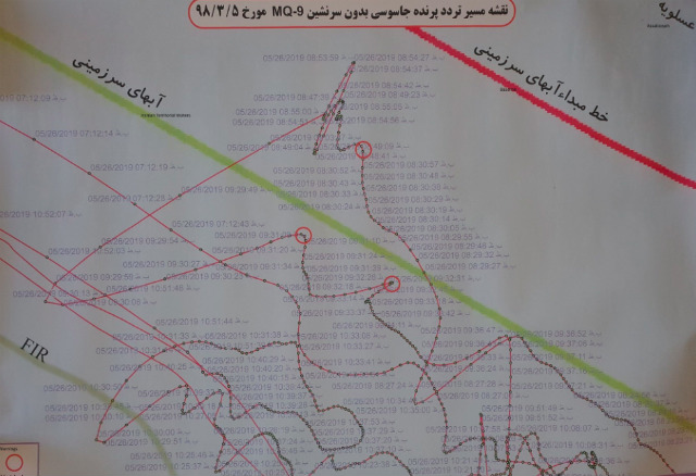 EVIDENCE. Iran's Foreign Minister Mohammad Javad Zarif says the map shows a border incident with a spy drone. Photo from Mohammad Javad Zarif's Twitter