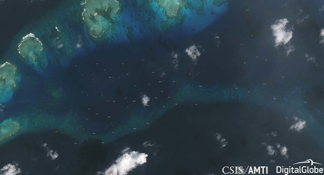 CHINESE SHIPS. The Asia Maritime Transparency Initiative (AMTI) of the Washington-based Center for Strategic and International Studies (CSIS) monitors dozens of Chinese vessels near Pag-asa Island (Thitu Island) after the Philippines begins constructing there. Photo courtesy of CSIS/AMTI/DigitalGlobe