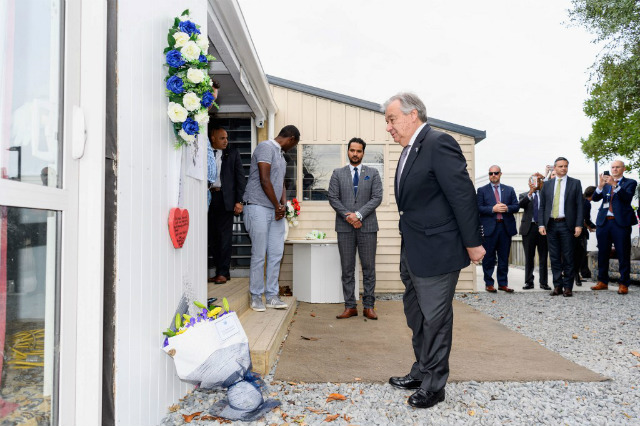 TRAGEDY. United Nations Secretary-General Antonio Guterres pauses after laying a floral tribute to the victims to the twin mosque attacks at the Linwood Islamic Center in Christchurch on May 14, 2019.u00c2u00a0Photo by Kai Schwoerer/Pool/AFP