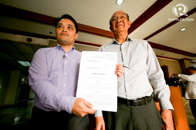 LEGAL ACTION. The mining saga is feared to play out in the courts with COMP chairman Artemio Disini (right) and COMP vice president for legal and policy Ronald Recidoro filing a graft complaint against Environment Secretary Gina Lopez. File Photo by Inoue Jaena/Rappler