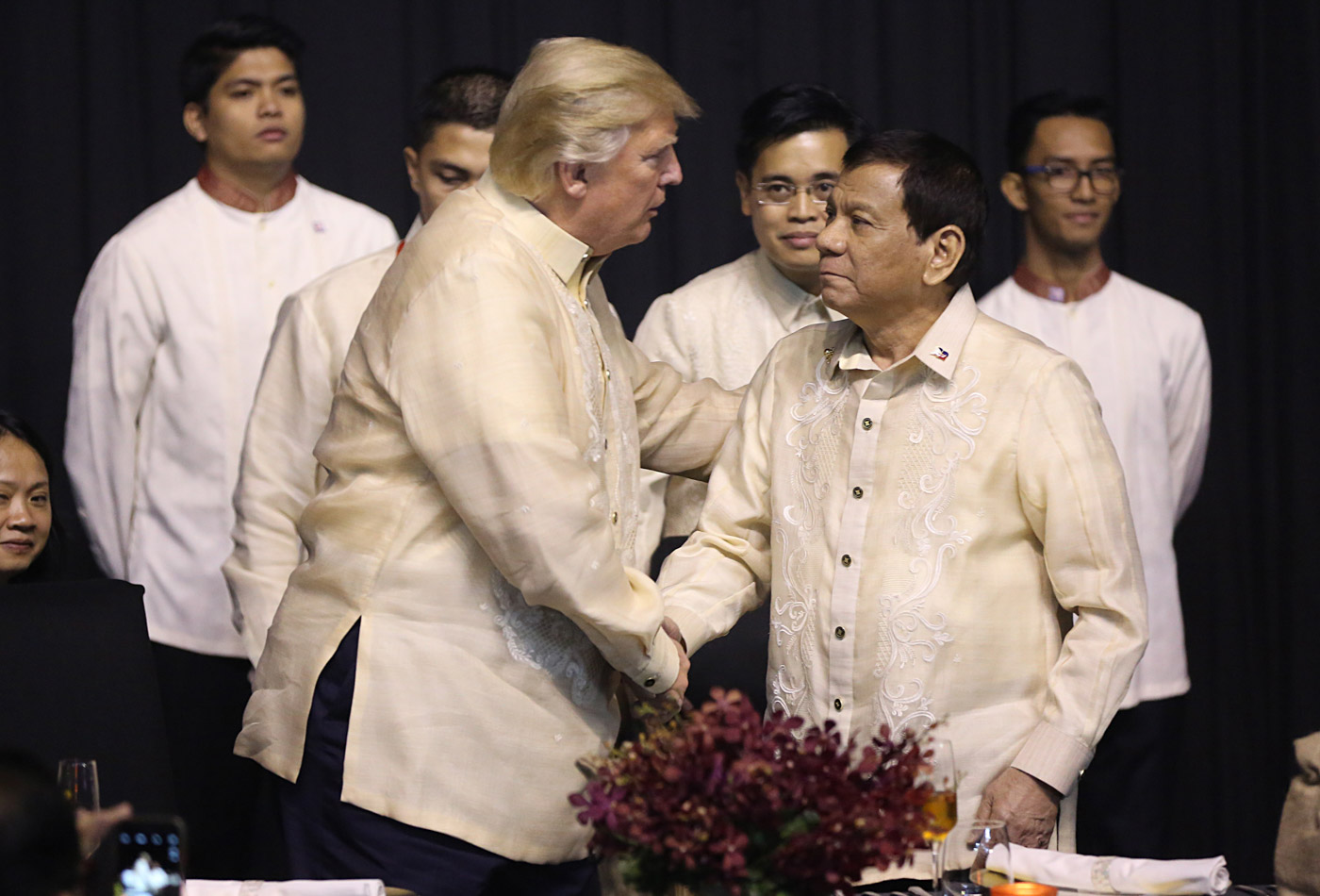FRIENDS. File photo of US President Donald Trump and President Rodrigo Duterte during the 31st ASEAN gala dinner. Photo by Russell Palma/Pool