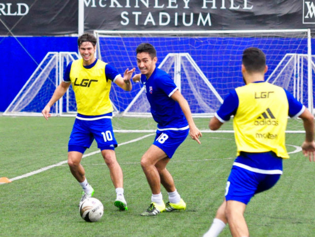 The u0022logistical nightmareu0022 of their preparations didn't prevent the Azkals from having fun in practice. Photo by Bob Guerrero/Rappler
