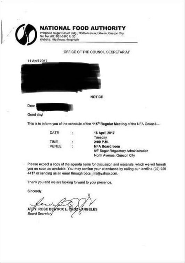 Document shows Trixie Cruz-Angeles signed as NFA Council Board Secretary in April 2017 despite non-approval of the NFA Council. Rappler sourced image