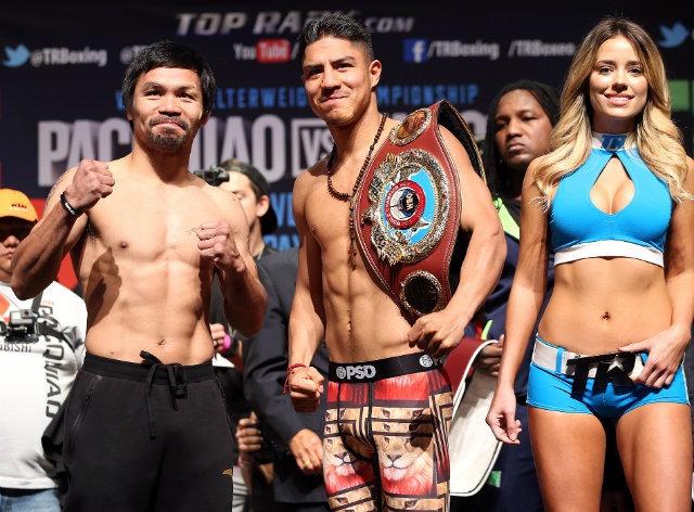 Manny Pacquiao weighed in at 144.8, his lightest since his 2014 fight against Chris Algieri. Photo by Mike Williams/Top Rank