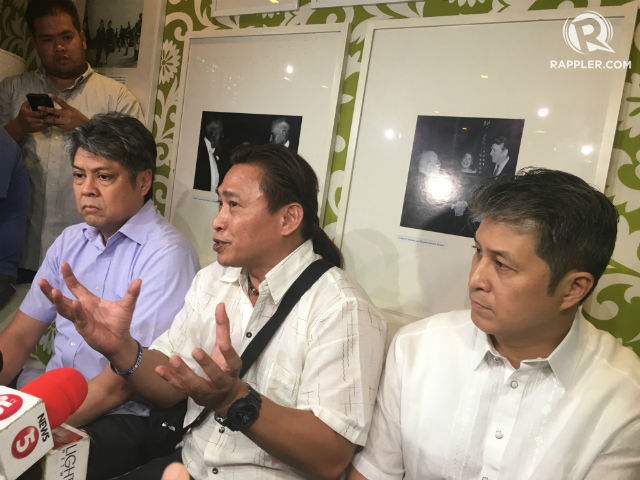 THE LIBERALS. LP president and Senator Francis Pangilinan, Ifugao Representative Teddy Baguilat Jr, and LP secretary-general and Quezon City 6th District Representative Jose Christopher Belmonte talk to the media after their party caucus. Photo by Mara Cepeda/Rappler