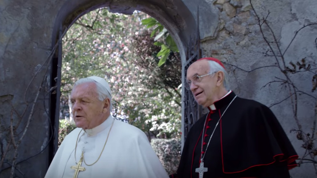 TWO POPES. Netflix drama The Two Popes starring Jonathan Pryce and Anthony Hopkins is among the key nominees. Screenshot from trailer