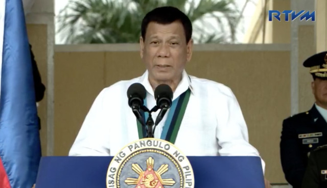 ORDERS TO MILITARY. President Rodrigo Duterte addresses the Armed Forces of the Philippines during its 82nd anniversary. RTVM screenshot