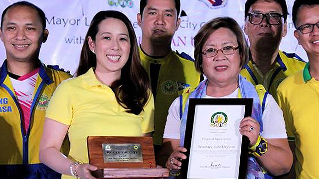 FORMER ALLIES. Then-Biu00f1an City mayor Marlyn Alonte with Senator Leila de Lima during the National Women's Month celebration in the city on March 20, 2016. File photo from Alonte's Facebook page
