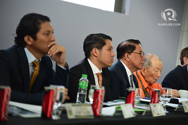 EXPLAINING PLANS. The Antonios on the Century Properties board, led by chairman Jose EB Antonio (3rd from left), discuss their diversification plans at a stockholders' meeting in June 2017. File photo by Alecs Ongcal/Rappler