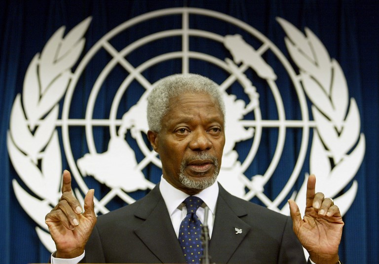 UN CHIEF. In this file photo taken on April 28, 2004, United Nations Secretary General Kofi Annan takes a question during a press conference at the UN Headquarters in New York. Photo by Timothy A. Clary/AFP