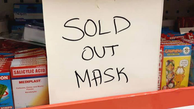 SOLD OUT. Supplies of face masks have started to run out in some stores in Metro Manila and nearby provinces. Photo by Analette Abesamis