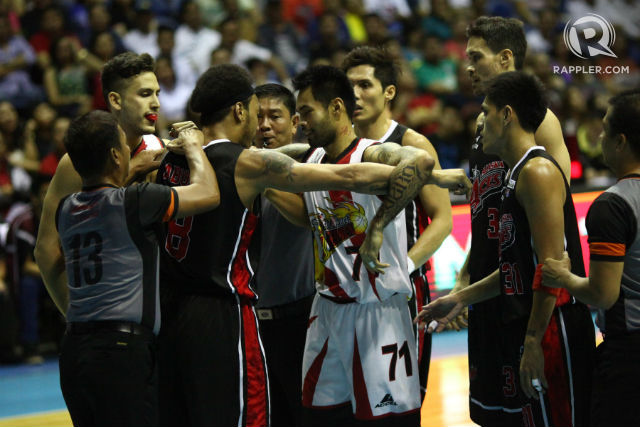 NOT BACKING DOWN. Ronald Tubid and San Miguel have answered Alaska's physical play. Photo by Josh Albelda/Rappler