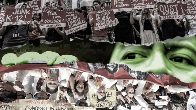 Photos of UP rallies by Ben Nabong; photo of eyes from Shutterstock