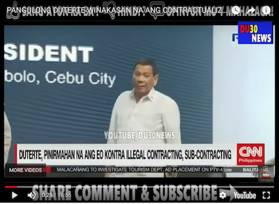 CONTRACTUALIZATION. A post on the blog dailyviralhub.altervista contains a video of CNN Philippines' report on Labor Day 2018. Screenshot from YouTube
