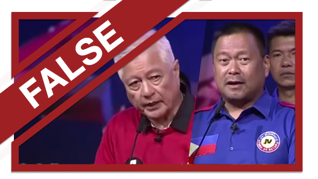 DEATH PENALTY. Senatorial candidates Raffy Alunan and JV Ejercito falsely claimed at a CNN Philippines debate that the Philippines is the only country in Asia to have repealed the death penalty. Screenshots from YouTube/CNN Philippines