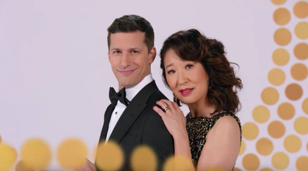 POWER PAIR. TV stars Andy Samberg and Sandra Oh are taking on the 79th Golden Globes hosting gig together. Screenshot from NBC's Youtube page