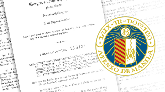 'VAGUE' PROVISION. Ateneo legal counsel suggests clearer duties of schools in resolving cases of gender-based sexual harassment