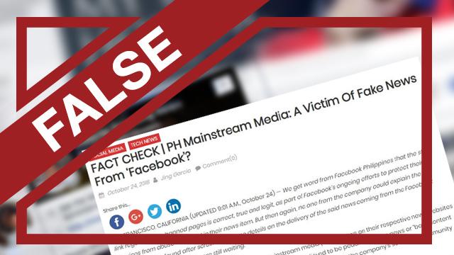FALSE: PH news sites may be 'victims of fake news from Facebook'