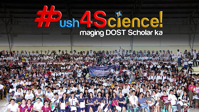 DOST-SEI #Push4Science caravan visits Surigao del Sur to promote DOST Undergraduate Scholarship Programs to high school students.