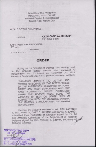 DISMISSAL ORDER. Photo by Trillanes' office
